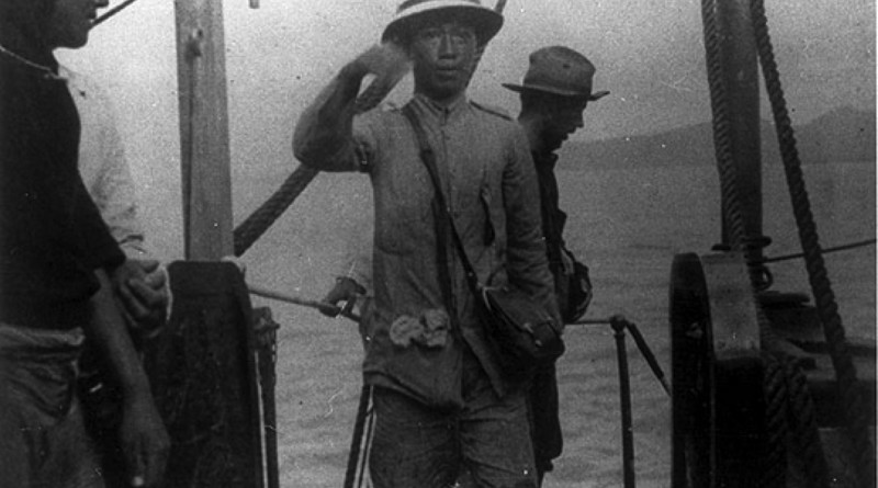 General Emilio Aguinaldo boarding the USS Vicksburg as a Prisoner of War